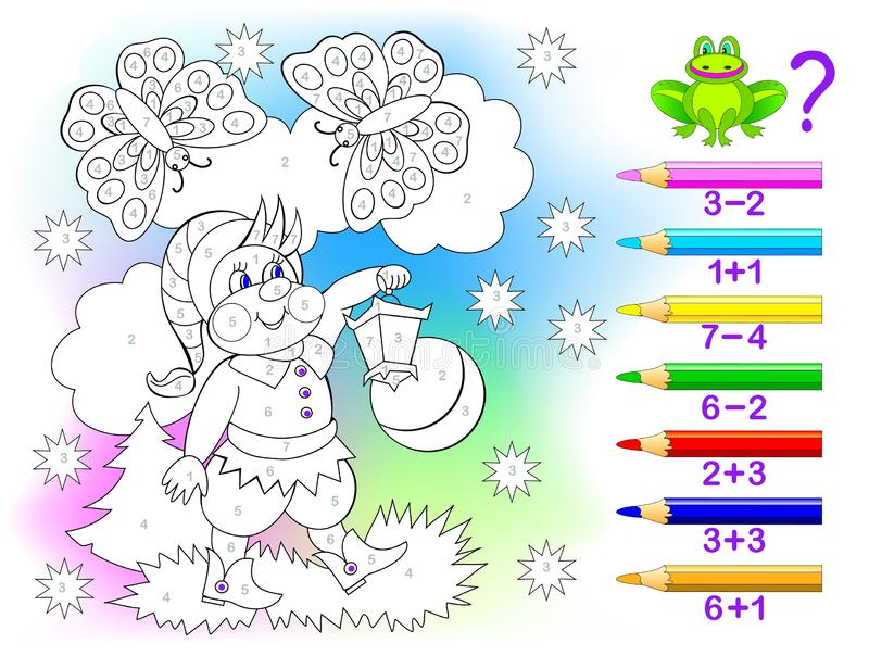 Educational page with exercises for children on addition and subtraction. Solve examples and paint the gnome in relevant colors. Developing skills for counting stock illustration