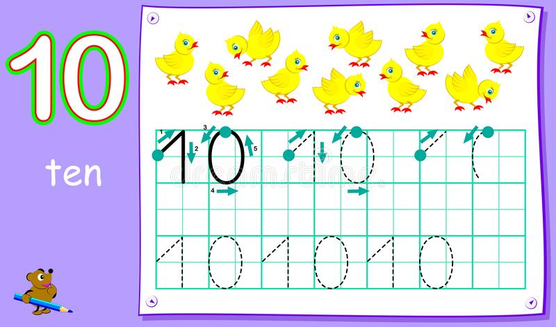 Educational page for young children with number ten. Developing skills for writing and counting. Vector cartoon image. Scale to any size without loss of stock illustration
