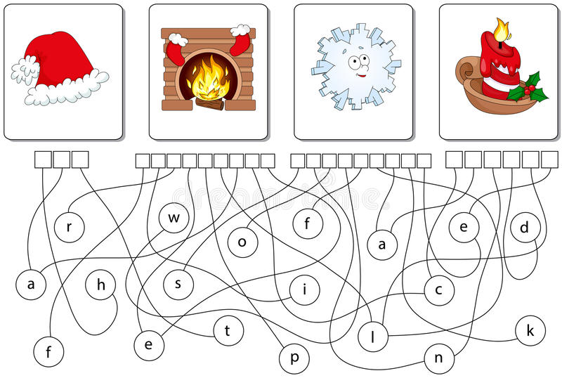 Educational puzzle game. Find the hidden words. Educational Christmas puzzle game for kids. Find the hidden words hat, fireplace, snowflake, candle stock illustration