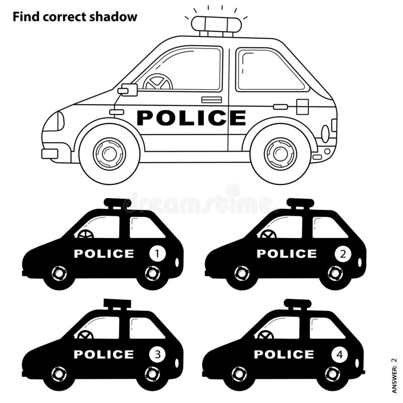 educational puzzle game kids find correct shadow police car coloring page outline cartoon book children