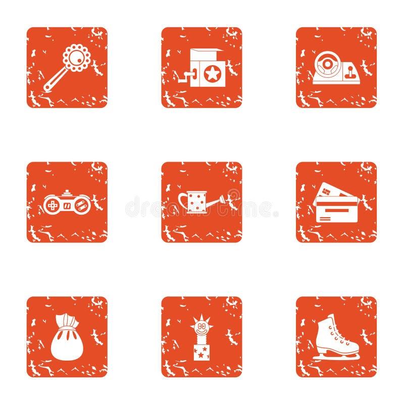 Educational toy icons set, grunge style. Educational toy icons set. Grunge set of 9 educational toy vector icons for web isolated on white background royalty free illustration