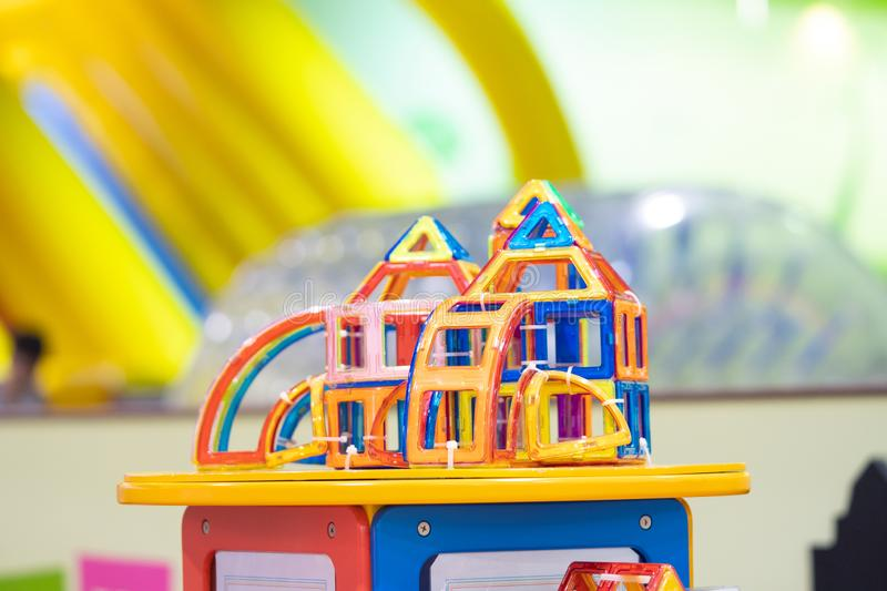 Educational toys for preschool indoor playground. Blur background royalty free stock images
