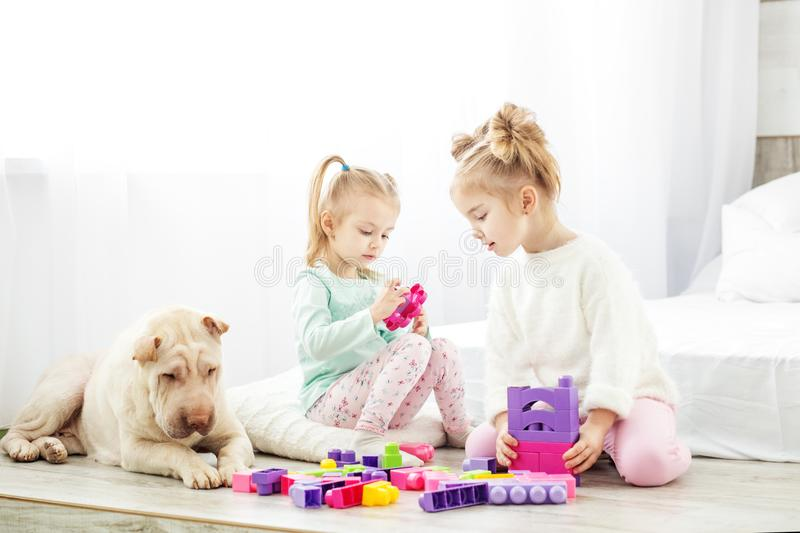 Educational toys for preschool and kindergarten child. Two child stock image