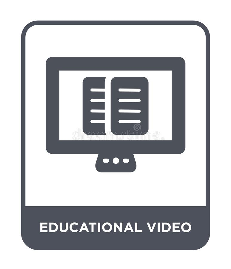 educational video icon in trendy design style. educational video icon isolated on white background. educational video vector icon stock illustration