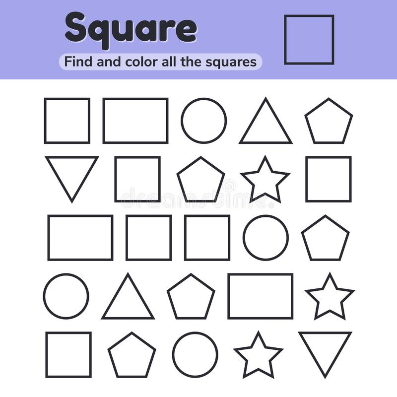 Educational worksheet for kids kindergarten, preschool and school age. Geometric shapes. Square, star, triangle, rectangle, vector illustration