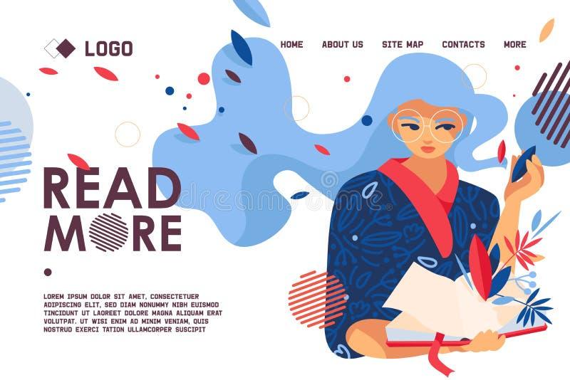 Educative baner med flickaförälskelse att läsa Modern begreppslandningsida för arkiv- och för boklager webbsida Vektorplats med royaltyfri illustrationer