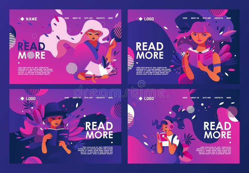 Educative banners set or landing page templates good for library or reading book clubs, fan club of traditional reading,. Discussion groups in vivid purple and stock illustration