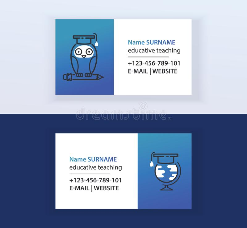 Educative teaching set of business cards vector illustration. Online education, learning, learn to think. Owl sitting on. Pencil. Globe and graduate cap vector illustration