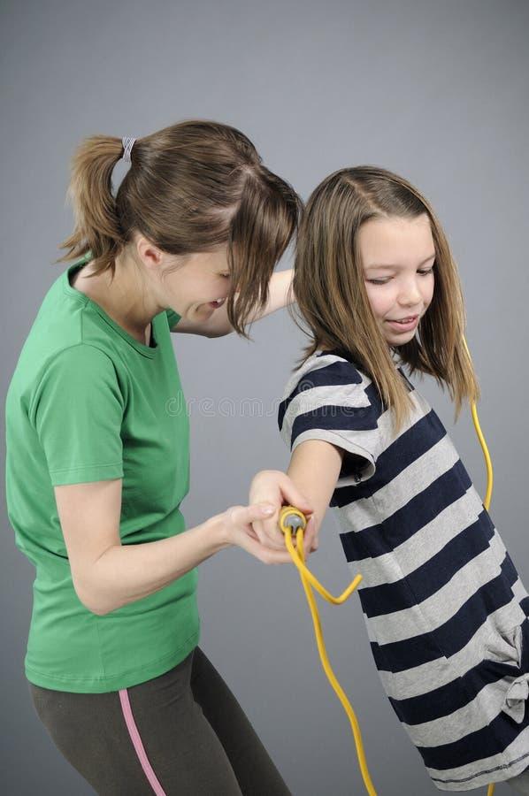 Educator explaining exercises stock photo