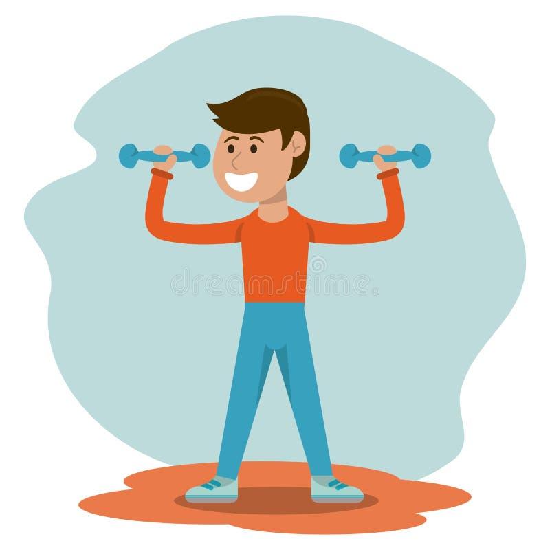 Educazione fisica - educazione fisica di sollevamento pesi del ragazzo illustrazione di stock