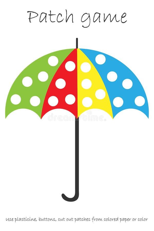 Edukaci łaty gemowy parasol dla dzieci rozwijać motorowe umiejętności lub barwić pa, use plasteliny łaty, guziki, barwiący papier ilustracja wektor