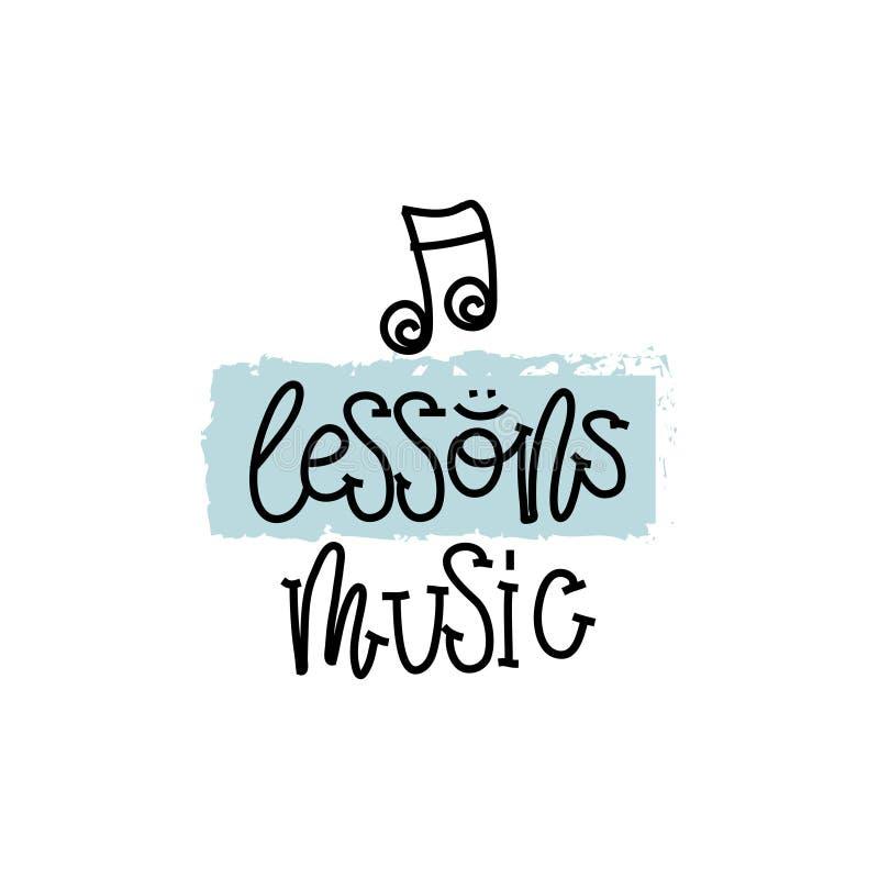 Edukaci i cenienia pojęcie Wręcza writing loga lekcj muzykę na białym papierze na widok wektor royalty ilustracja