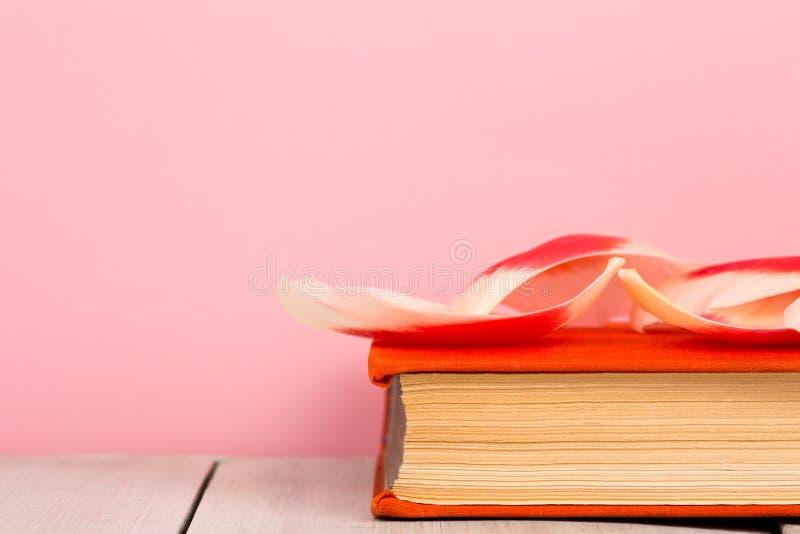 edukaci i czytania pojęcie - otwiera książkę z kwiatów liśćmi obrazy royalty free