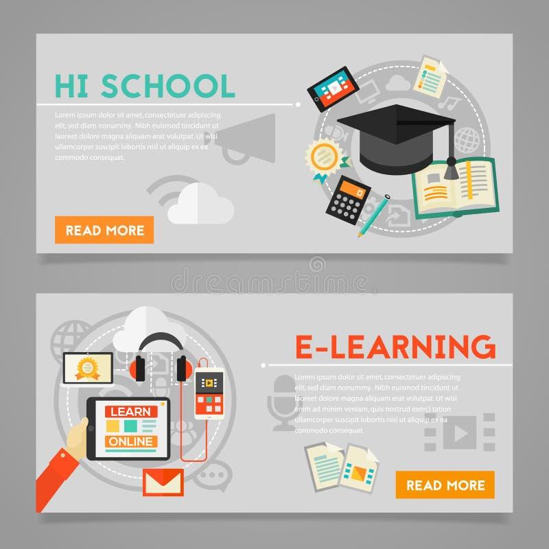 Edukaci i nauczania online pojęcia sztandary ilustracji
