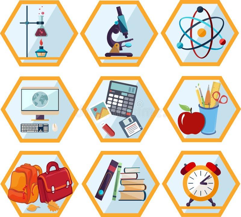 edukaci ikony szkoły set ilustracji