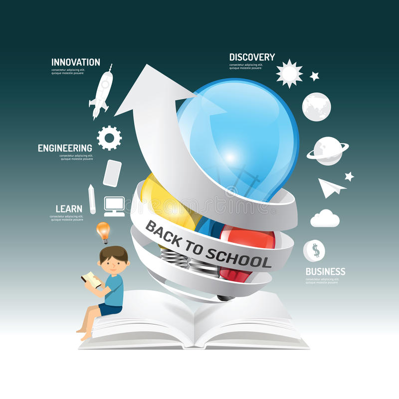 Edukaci innowaci infographic pomysł na żarówce z strzała p ilustracja wektor