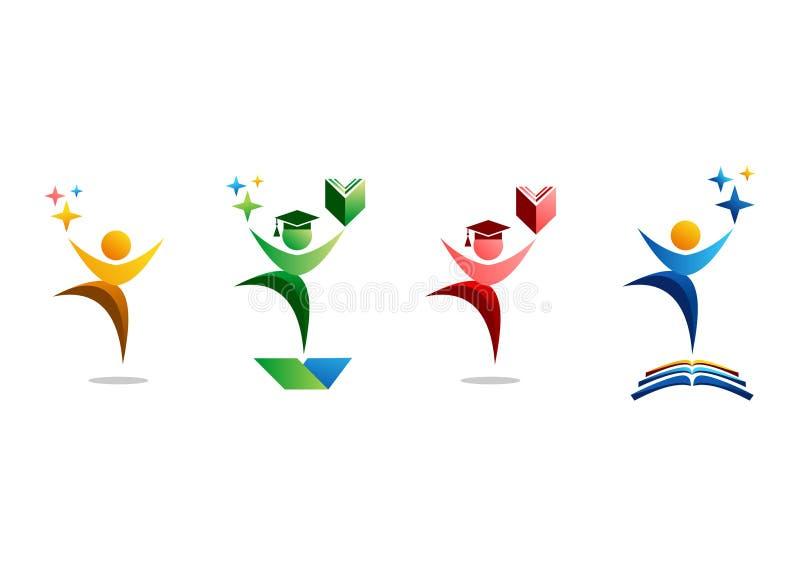 Edukaci, loga, ludzi, świętowania, ucznia i książki symbolu ikony ustalony wektorowy projekt, royalty ilustracja
