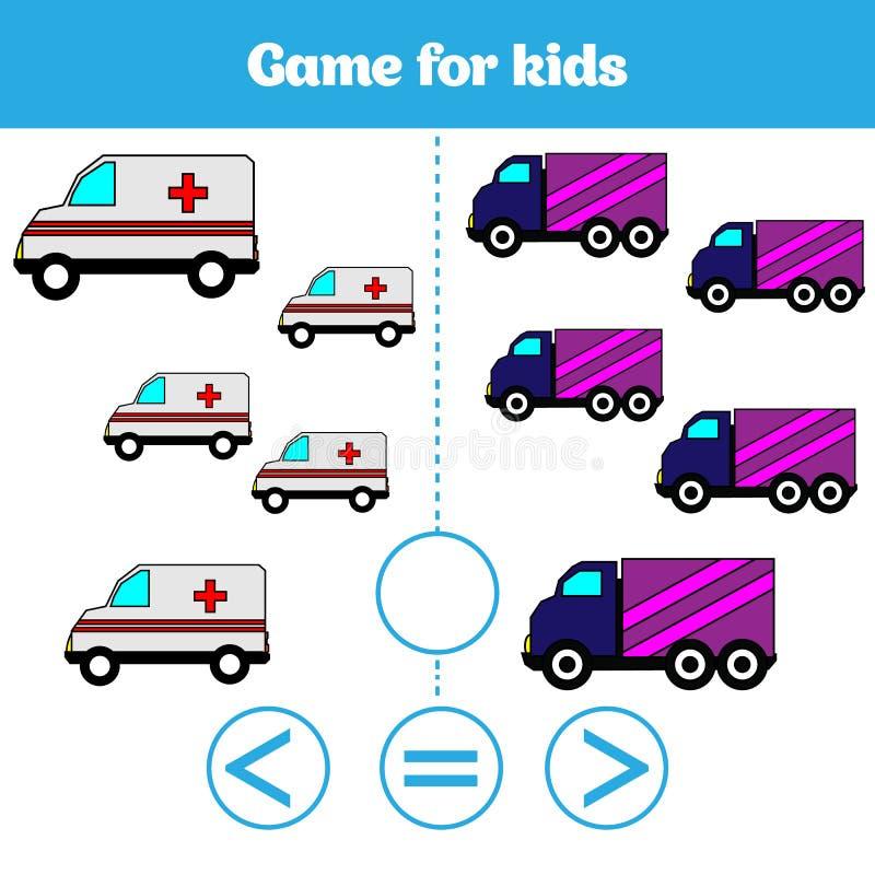 Edukaci logiki gra dla preschool dzieciaków Wybiera poprawną odpowiedź Więcej, less lub równa Wektorowa ilustracja, ilustracja wektor