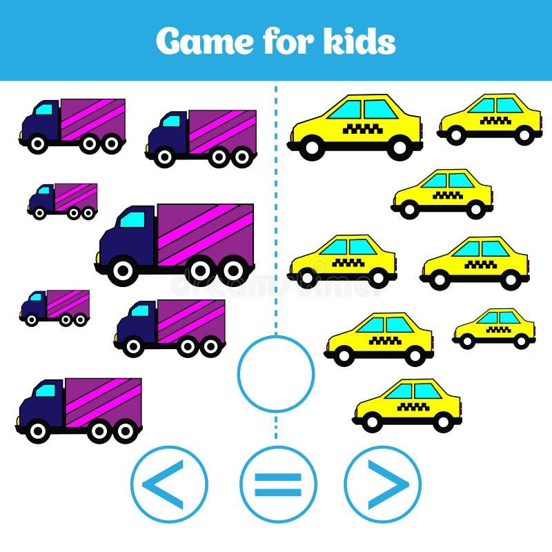 Edukaci logiki gra dla preschool dzieciaków Wybiera poprawną odpowiedź Więcej, less lub równa Wektorowa ilustracja, ilustracji