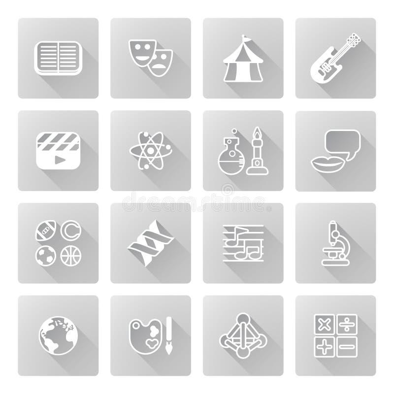 Edukaci lub quizu podległe ikony ilustracji