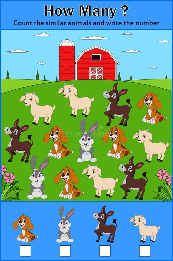 Edukaci odliczająca gra zwierzęta dla preschool dzieci royalty ilustracja