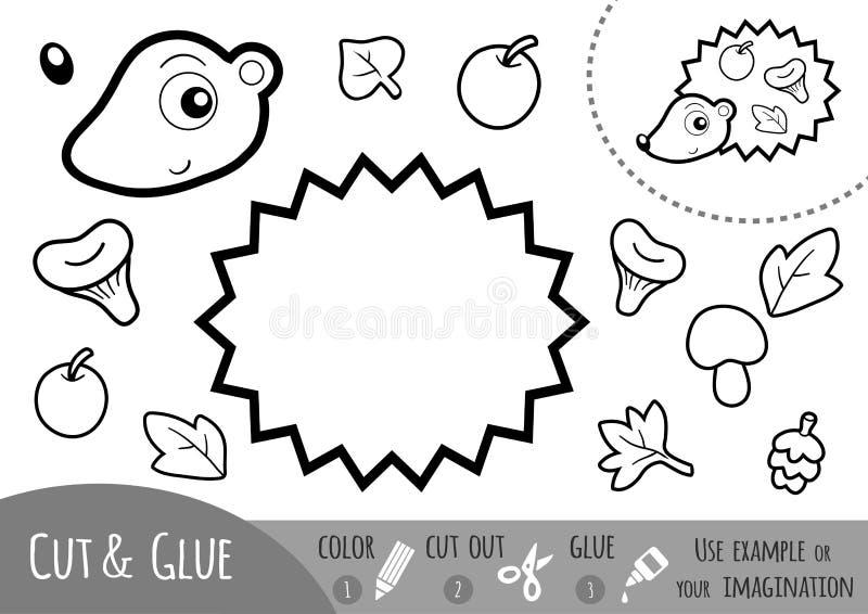 Edukaci papierowa gra dla dzieci, jeż ilustracja wektor
