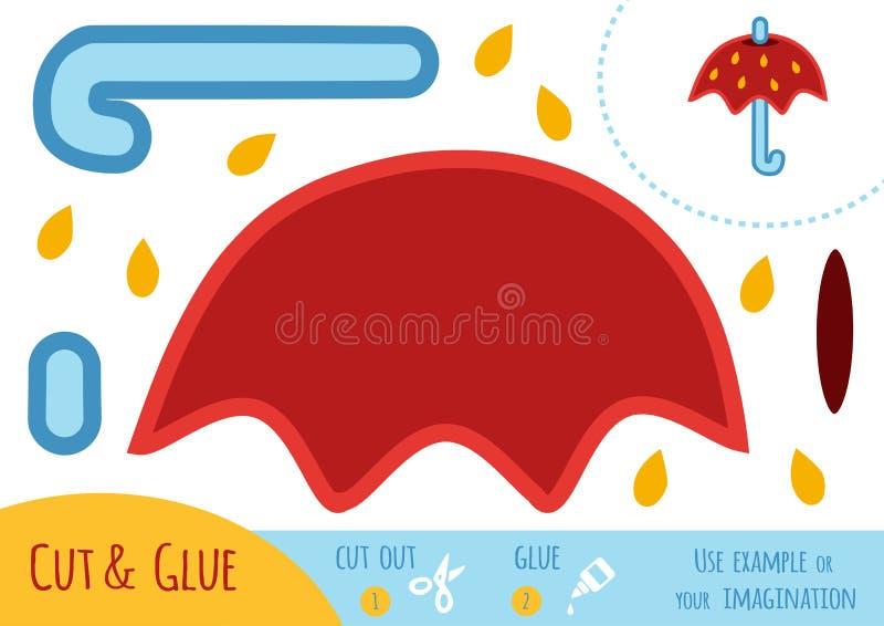 Edukaci papierowa gra dla dzieci, parasol ilustracji