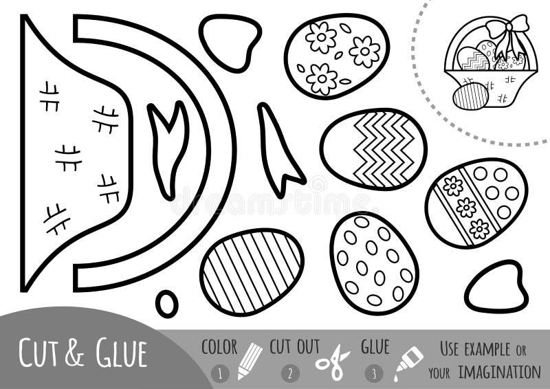Edukaci papierowa gra dla dzieci, Wielkanocny kosz z jajkami royalty ilustracja