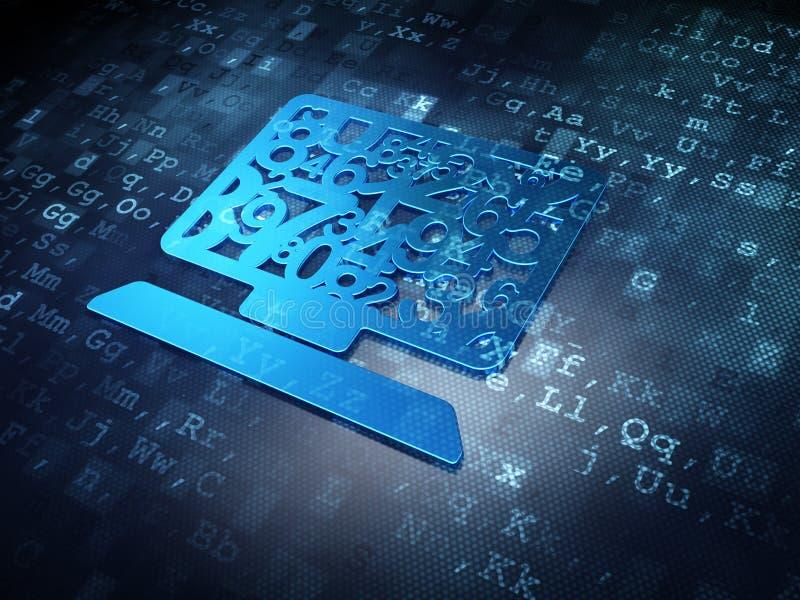 Edukaci pojęcie: Błękitny Komputerowy komputer osobisty na cyfrowym tle ilustracja wektor