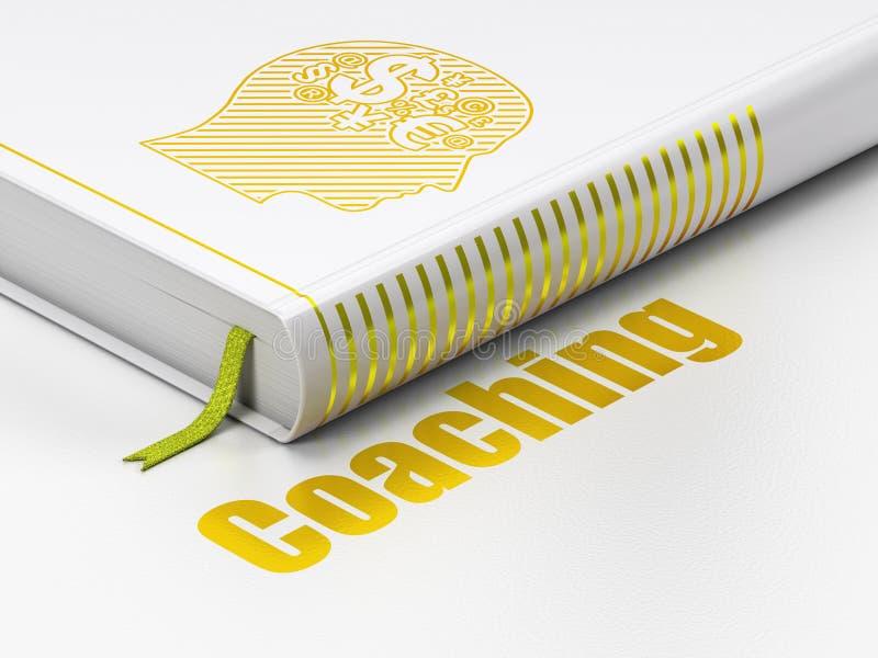 Edukaci pojęcie: książkowa głowa Z Finansowym symbolem, Trenuje na białym tle ilustracji