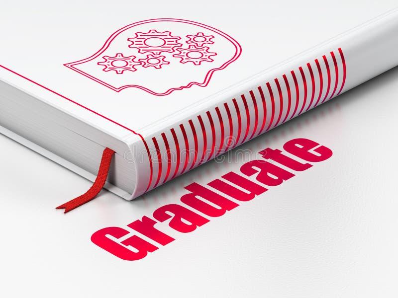 Edukaci pojęcie: książkowa głowa Z przekładniami, absolwent na białym tle zdjęcia stock