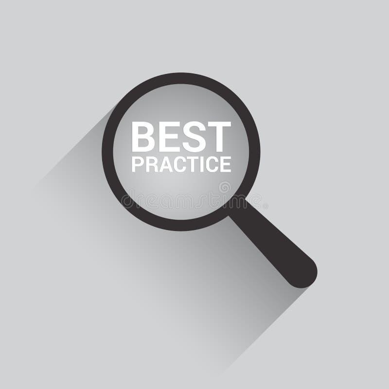 Edukaci pojęcie: Powiększać Okulistycznego szkło Z słowo najlepsza praktyka ilustracji