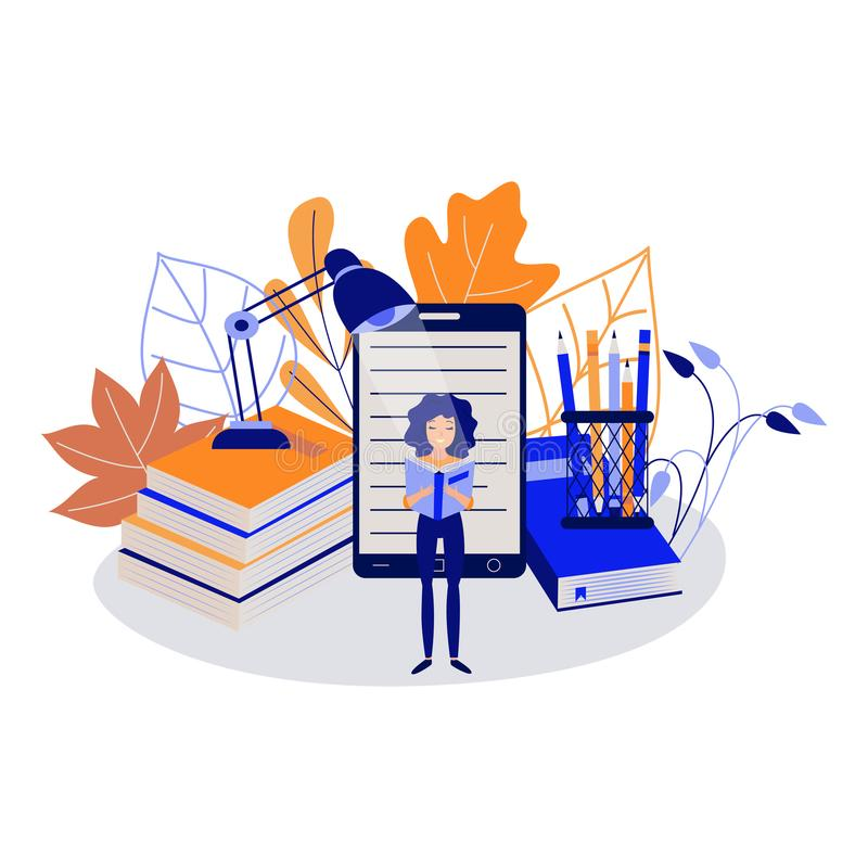 Edukaci pojęcie z młodą żeńskiego ucznia pozycją i czytelniczą książką ilustracji