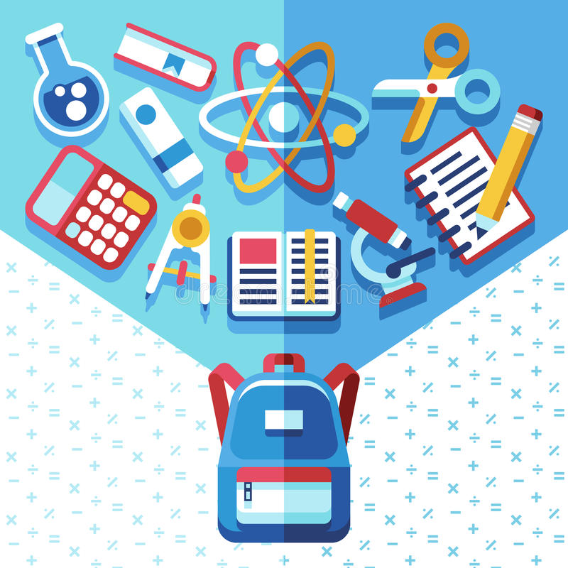Edukaci pojęcie z plecakiem i dostawami Popiera szkoły wektorowy tło z schoolbag ilustracji