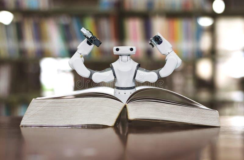 Edukaci ręki Przemysłowy robot W bibliotece fotografia royalty free