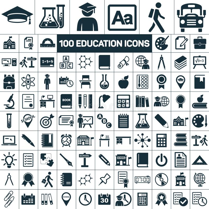Edukaci skalowania szkolne ikony ustawiać na białym tle ilustracja wektor