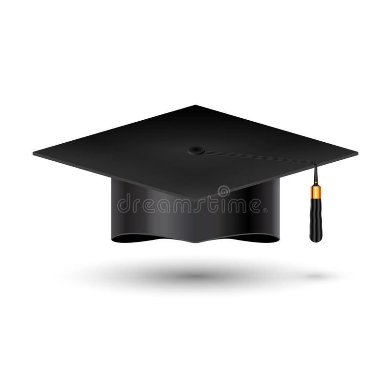 Edukaci skalowania uniwersytecka filiżanka na białym tle Sukcesu akademicki studencki kapelusz dla ceremonii szkoły osiągnięcia ilustracja wektor