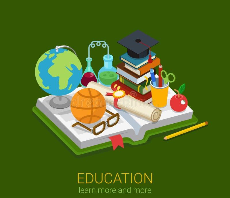 Edukaci szkolnej szkoły wyższa mieszkania 3d uniwersytecki isometric wektor royalty ilustracja
