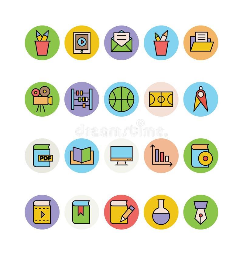Edukacj Barwione Wektorowe ikony 4 ilustracja wektor