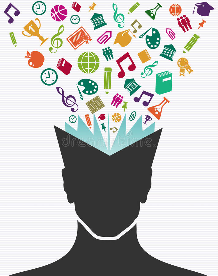 Edukacj ikon ludzkiej głowy kolorowa książka. ilustracji