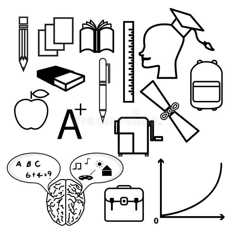 Edukacj ikony ilustracji