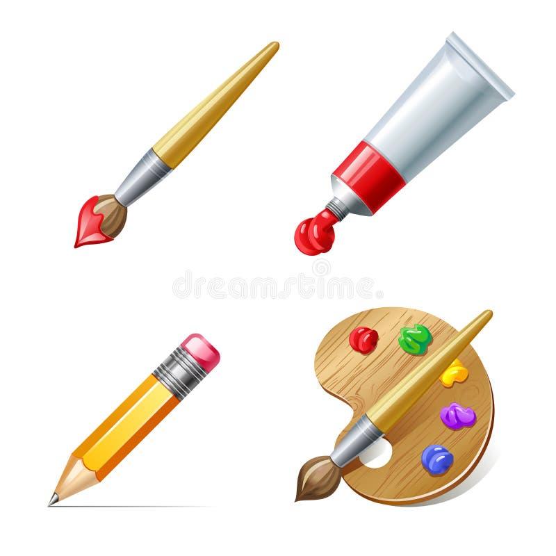 Edukacj ikony Ołówek, paleta, farby tubka i muśnięcie z pai, royalty ilustracja