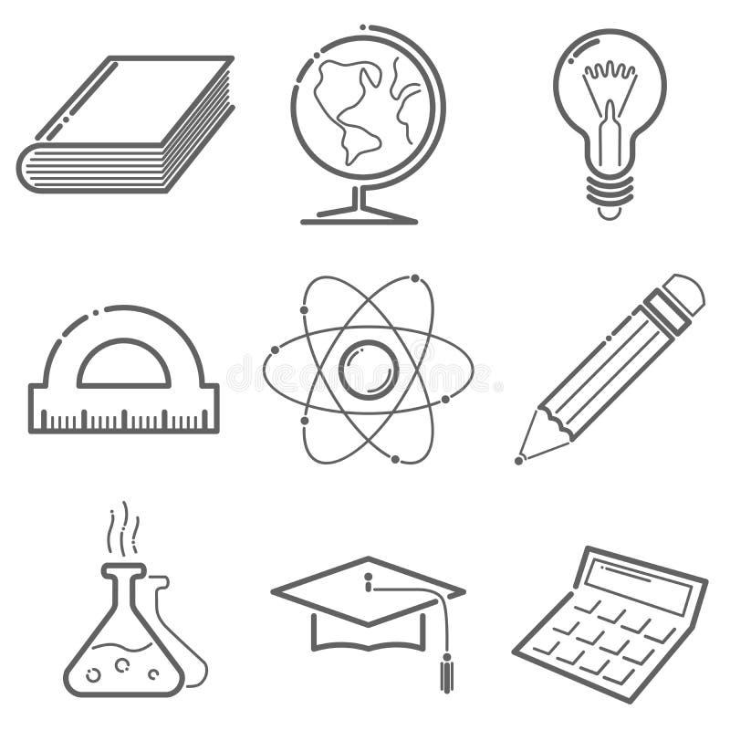 Edukacj ikony ustawiać w kreskowym stylu ilustracja wektor