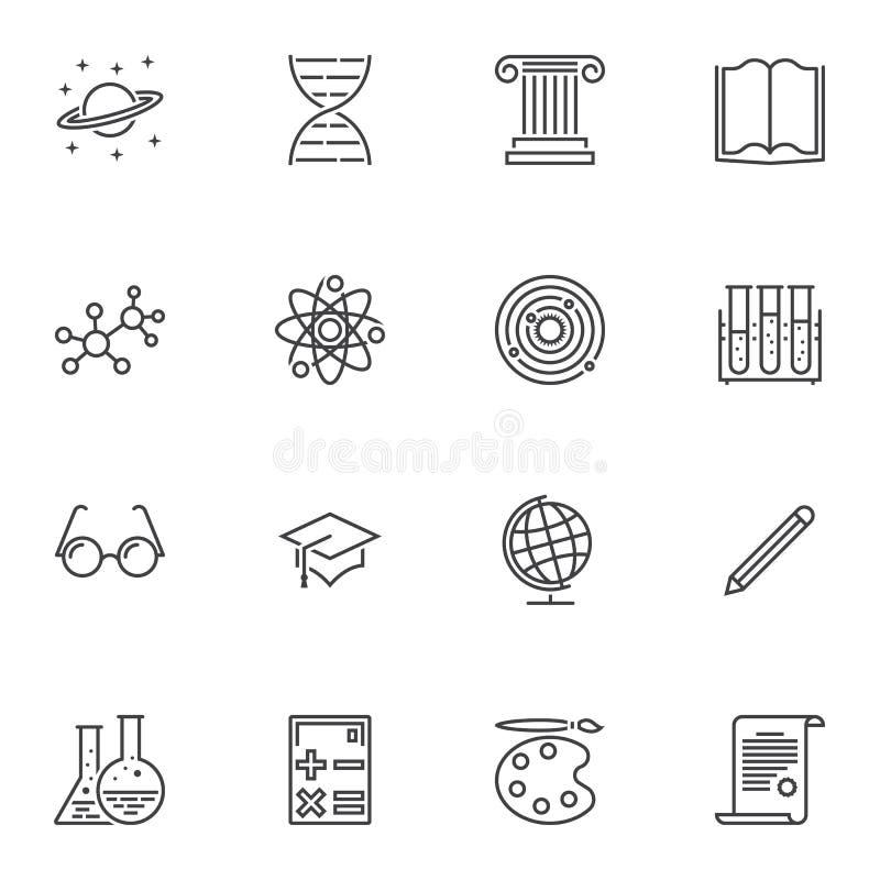 Edukacj kreskowe ikony ustawia? ilustracja wektor