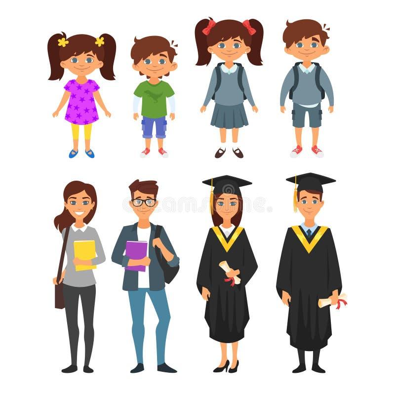 Edukacja śliczni charaktery ilustracji