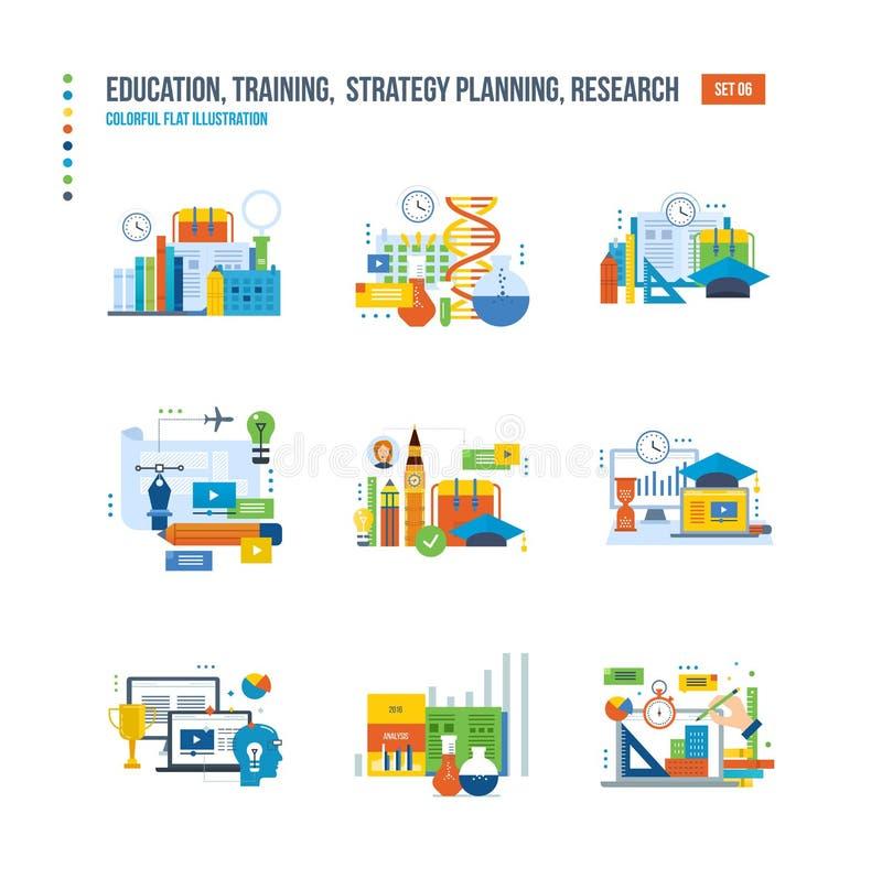 Edukacja, badanie, analiza studia, szkoła, języki obcy, technologia royalty ilustracja