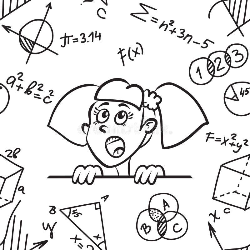 Edukacja bezszwowy wzór z Śliczną kreskówki dziewczyną, matematyka, geometria problemy i formuły na białym tle i royalty ilustracja