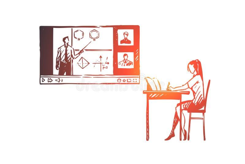 Edukacja, dom, uczeń, internet, komputerowy pojęcie Ręka rysujący odosobniony wektor ilustracja wektor