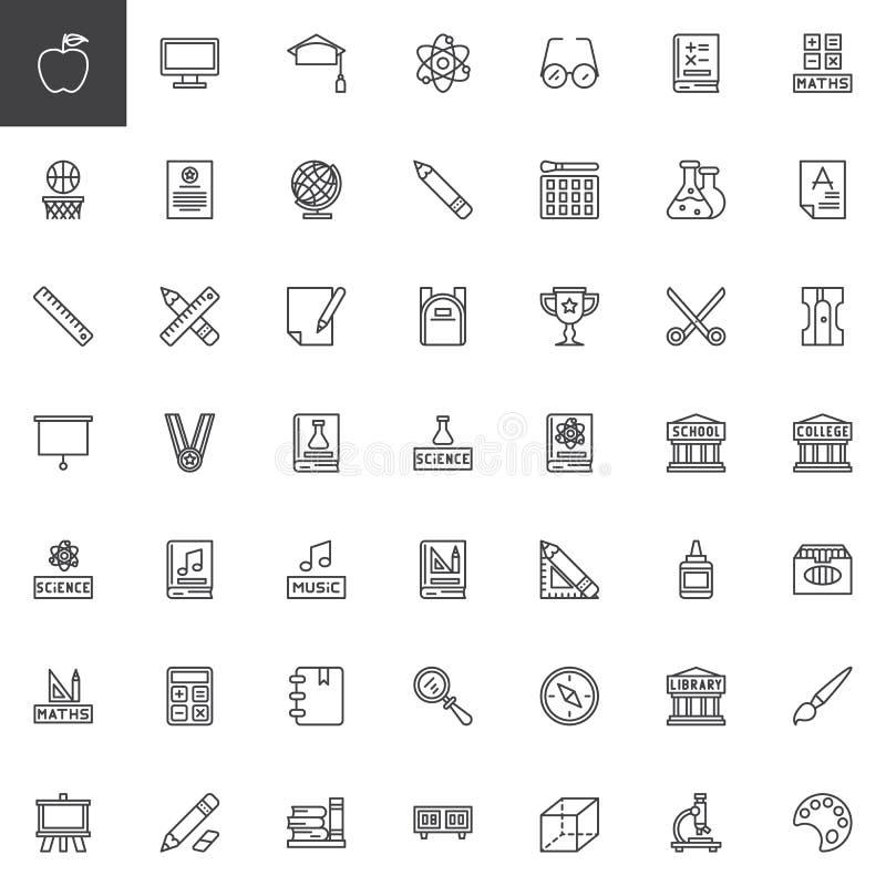 Edukacja elementów konturu ikony ustawiać royalty ilustracja