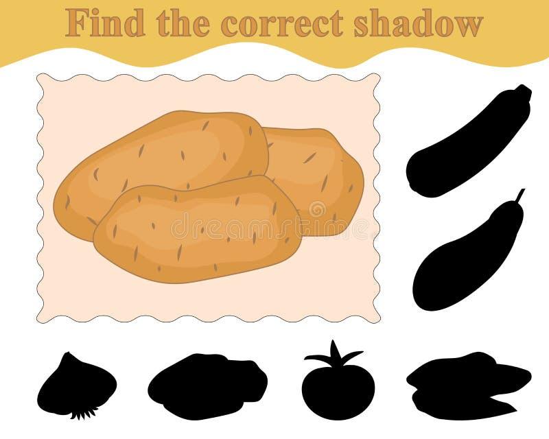 Edukacja gemowi dzieciaki Znajduje poprawnego cień grule ilustracja wektor